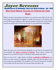 Have best Shower Screens in Victoria for Your Home.pdf