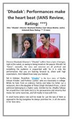 Dhadak  Performances make the heart beat (IANS Review  Rating ).pdf