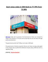 Govt raises stake in IDBI Bank to 77.79% from 73.98%.pdf