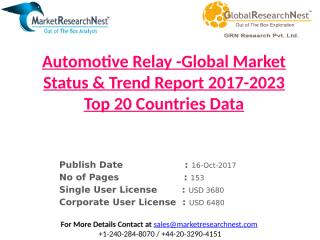 Automotive Relay -Global Market Status & Trend Report 2017-2023 Top 20 Countries Data.pptx