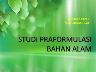 PTM. 6 -7 Preformulasi Obat Bahan Alam.pdf